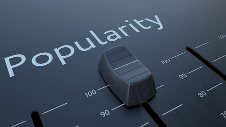 popularity: Sliding fader with popularity inscription, macro. Conceptual 3D rendering