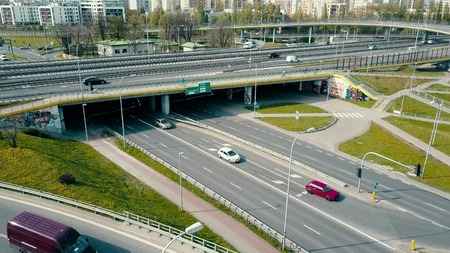 WARSAW, POLAND - MAY, 2, 2017. Aerial shot of urban road junction Editorial