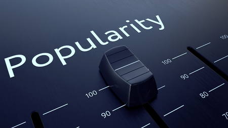 popularity: Sliding fader with popularity inscription. Conceptual 3D rendering Stock Photo