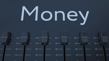Multiple sliding faders on a panel with money inscription. Conceptual 3D rendering Stock Photo - 77601584