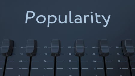popularity: Multiple sliding faders on a panel with popularity inscription. Conceptual 3D rendering Stock Photo