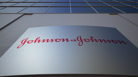 Outdoor signage board with Johnson's logo. Modern office building. Editorial 3D