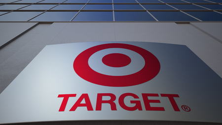 Outdoor signage board with Target Corporation logo. Modern office building. Editorial 3D