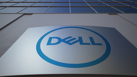 Outdoor signage board with Dell Inc. logo. Modern office building. Editorial 3D