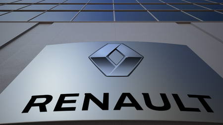 Outdoor signage board with Groupe Renault logo. Modern office building. Editorial 3D Editorial