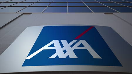 Outdoor signage board with AXA logo. Modern office building. Editorial 3D Editorial