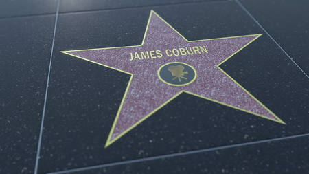 celeb: Hollywood Walk of Fame star with JAMES COBURN inscription. Editorial 3D rendering