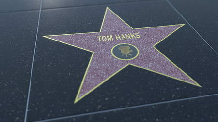 Hollywood Walk of Fame star with TOM HANKS inscription. Editorial 3D rendering Editorial