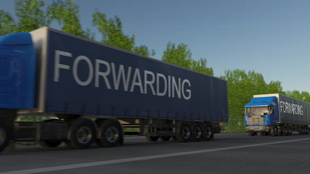 Speeding freight semi truck with FORWARDING caption on the trailer. Road cargo transportation. 3D rendering