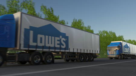 Freight semi trucks with Lowes logo driving along forest road. Editorial 3D rendering