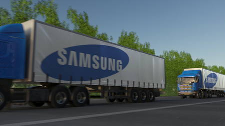 famous industries: Freight semi trucks with Samsung logo driving along forest road. Editorial 3D rendering