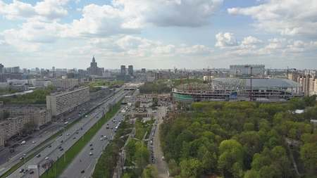 Aerial shot of Leningradsky prospekt in Moscow, one of major city avenues