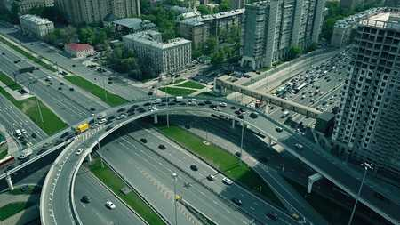 Traffic jam on city road junction in Moscow, Russia