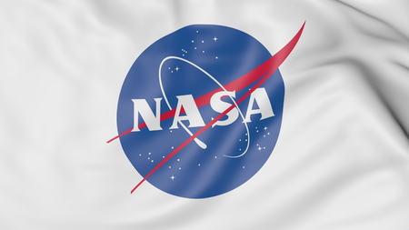 Waving flag with NASA logo. Editorial 3D rendering