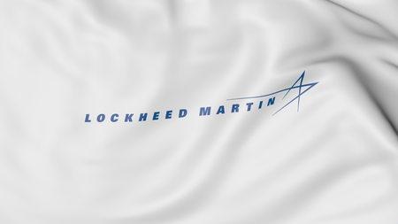 lockheed martin: Waving flag with Lockheed Martin logo. Editorial 3D rendering