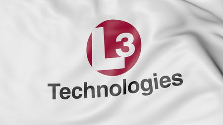 flapping: Waving flag with L3 Technologies logo. Editorial 3D rendering Editorial