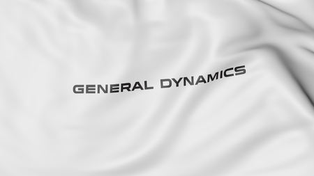 flapping: Waving flag with General Dynamics logo. Editorial 3D rendering