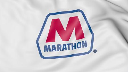 Marathon Petroleum 로고로 깃발을 흔들며. Editorial 3D rendering 에디토리얼