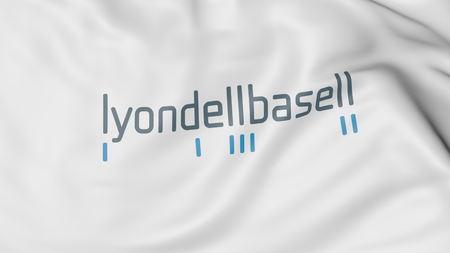 LyondellBasell 로고로 깃발을 흔들며. Editorial 3D rendering
