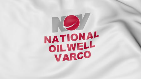 Waving flag with National Oilwell Varco logo. Editorial 3D rendering