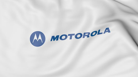 Waving flag with Motorola logo. Editorial 3D rendering Publikacyjne