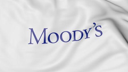 Moodys Corporation 로고 깃발 흔들기. Editorial 3D rendering 에디토리얼