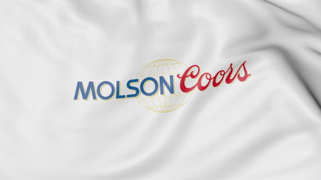 molson: Waving flag with Molson Coors Brewing Company logo. Editorial 3D rendering Editorial