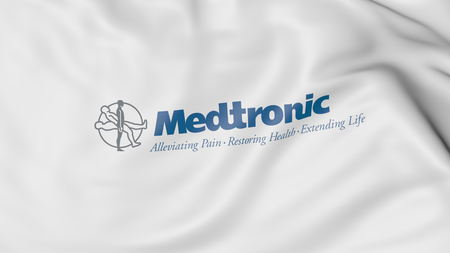 Waving flag with Medtronic logo. Editorial 3D rendering