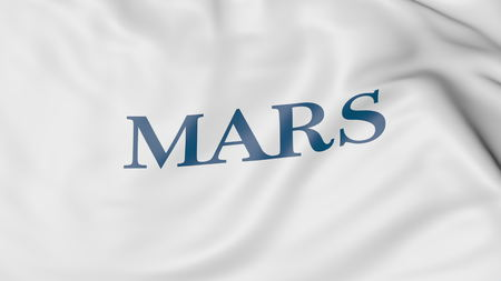 Waving flag with Mars Incorporated logo. Editorial 3D rendering