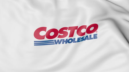 Waving flag with Costco logo. Editorial 3D rendering Stock Photo - 80069417