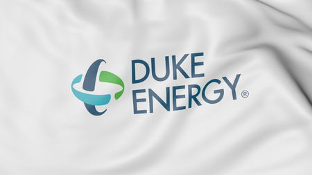 Waving flag with Duke Energy logo. Editorial 3D rendering Editorial