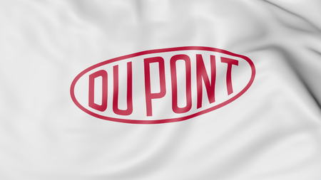 Waving flag with Dupont logo. Editorial 3D rendering