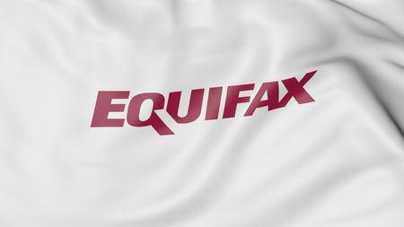Equifax 로고 깃발 흔들기. Editorial 3D rendering