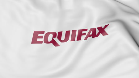 Waving flag with Equifax logo. Editorial 3D rendering