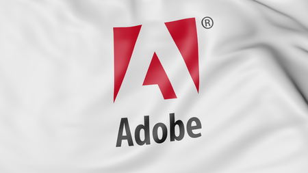 Waving flag with Adobe Systems logo. Editorial 3D rendering