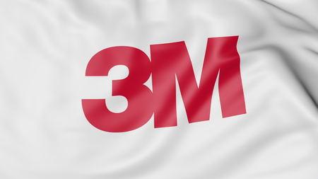 Waving flag with 3M Company logo. Editorial 3D rendering Zdjęcie Seryjne - 80069494