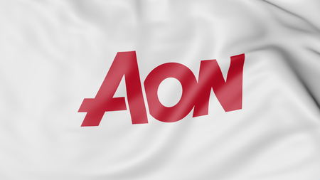 aon: Waving flag with Aon Plc logo. Editorial 3D rendering Editorial