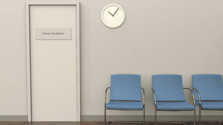 Waiting room at family practitioner office. Medical practice concept. 3D rendering Zdjęcie Seryjne