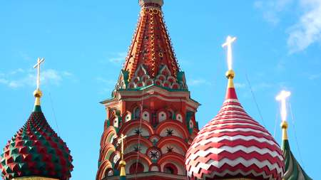 cross: Details of St Basil Cathedral on the Red square in Moscow, Russia