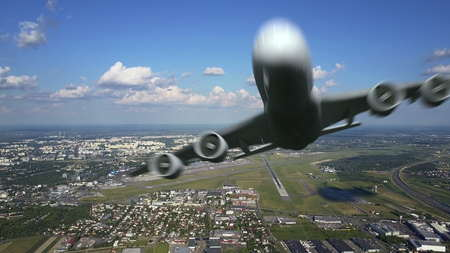 Scenic aerial shot of big commercial airplane taking off from international airport and flying by the camera. 3D rendering Stock Photo