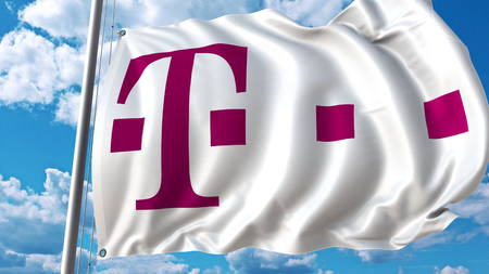 Waving flag with T Telekom logo against sky and clouds. Editorial 3D rendering