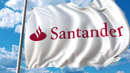 Waving flag with Santander logo against sky and clouds. Editorial 3D rendering Editorial