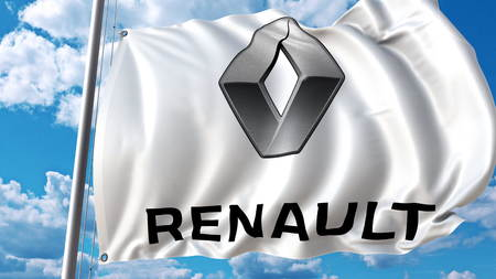 Waving flag with Renault logo against sky and clouds. Editorial 3D rendering