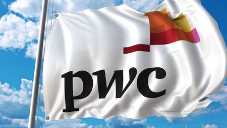 Waving flag with PwC logo against sky and clouds. Editorial 3D rendering Editorial