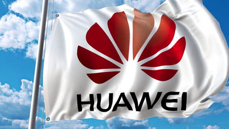 Waving flag with Huawei logo against sky and clouds. Editorial 3D rendering
