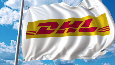 Waving flag with DHL logo against sky and clouds. Editorial 3D rendering Editorial