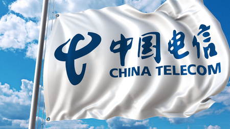 Waving flag with China Telecom logo against sky and clouds. Editorial 3D rendering