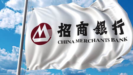 Waving flag with China Merchants Sbank logo against sky and clouds. Editorial 3D rendering
