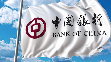 Waving flag with Bank Of China logo against sky and clouds. Editorial 3D rendering Editorial