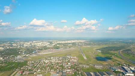 airstrip: Scenic aerial shot of an international airport Stock Photo